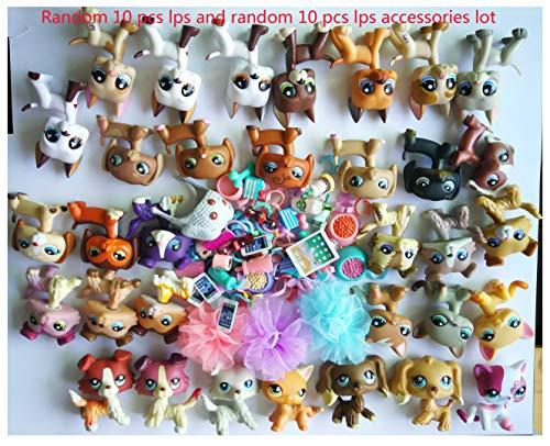 LPSOLD (LPS Random Lot 10 PCS) LPS Cat and Dog Great Dane Shorthair Cat Collie Cocker Spaniel Dachshund Surprise 10 Pets & 10 Accessories Lot Kids Xmas Gift Set