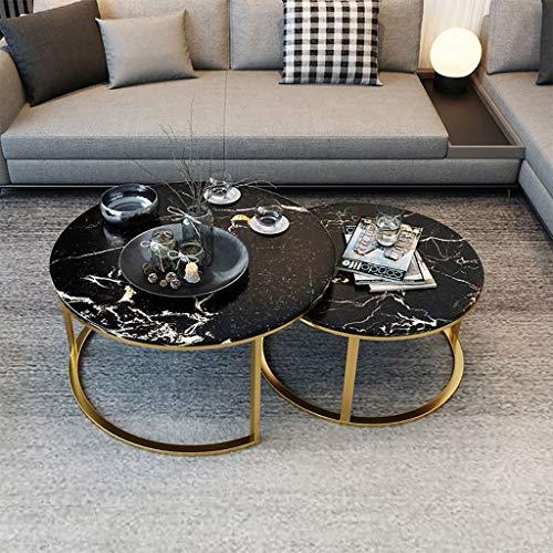 Nesting salontafels, marmer look bank zijtafels ronde eindtafels met gouden metalen frame huisdecoratie sets (Set van 2)
