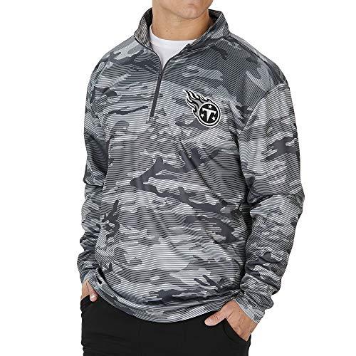 Zubaz NFL Tennessee Titans Men's Lines Poly Fleece 1/4 Zip Jacket, Gray, XX-Large
