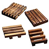 SMLJFO Paquete de 4 jaboneras de madera, jabonera, jabonera, bandeja de jabón de madera natural, soporte de drenaje para baño y ducha