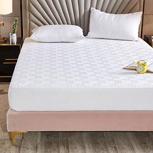 YFGY Funda de colchón Sábana de colchón elástica con Funda Single y Ajustada, Protector de Colcha Dormitorio, Hotel, Blanco, 120 * 200 cm