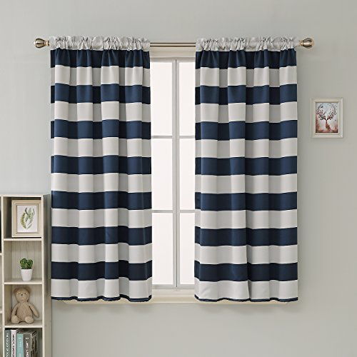 Deconovo Navy Blue Striped Blackout Curtains Rod Pocket Nautical Navy and Greyish White Striped Curtains for Kids Room 52W X 63L Navy Blue 2 Panels