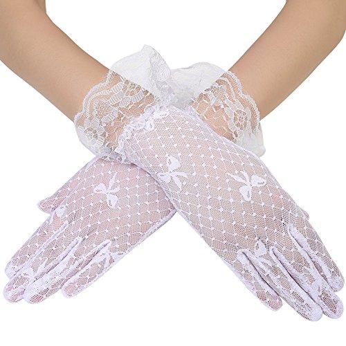 ArtiDeco Damen Lace Handschuhe Satin Braut Hochzeit Spitze Handschuhe Opera Fest Party Handschuhe 1920s Handschuhe Damen Kostüm Accessoires (Kurz Tüpfel Weiß)