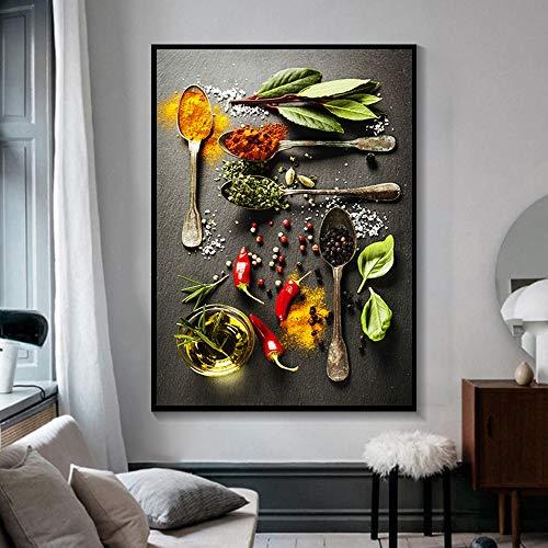Blatt Pfeffer und Curry Pulver Leinwand Malerei Küche Wandkunst moderne Mode Bild Poster und Drucke Wandbilder Küche Zimmer Familie rahmenlose dekorative Malerei A58 50x70cm