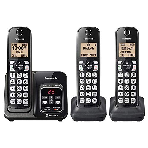 Panasonic KX-TG833SK Bluetooth Link2Cell Cordless Phone with Voice Assist and Answering Machine = 3 Handsets