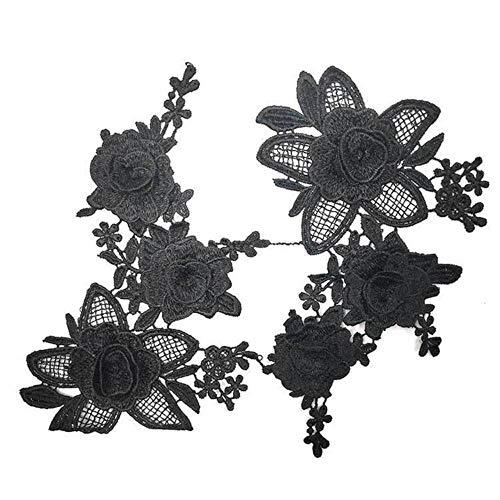 2 STKS Luxe Wit Zwart 3D Geborduurde Kant Patch Jurk Blouse Bloemen Kraag Applicaties Stof DIY Naaibenodigdheden Guipure Decor, zwart