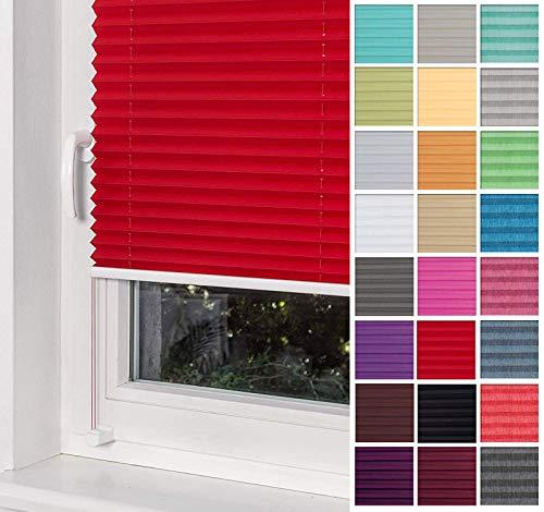 Home-Vision® Premium Plissee Faltrollo ohne Bohren mit Klemmträger / -fix (Rot, B60cm x H120cm) Blickdicht Sonnenschutz Jalousie für Fenster & Tür