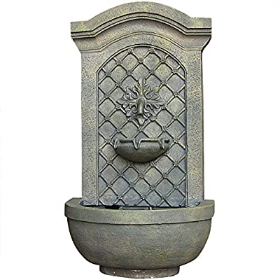 Sunnydaze Rosette Leaf Outdoor Wall Water Fountain - Waterfall Wall Mounted Fountain & Backyard Water Feature with Electric Submersible Pump - Limestone Finish - 31 Inch