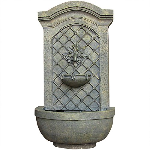 Sunnydaze Rosette Leaf Outdoor Wall Fountain, Limestone Finish, 31 Inch Tall