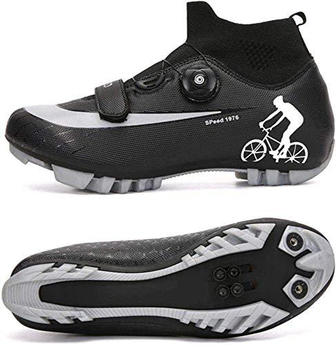 CHUIKUAJ Zapatillas de Ciclismo MTB para Hombre,Zapatos de Ciclismo de Montaña con Candados,Calzado Deportivo de Invierno para Hombre y Mujer/Suelas-Nailon,Black-EU41