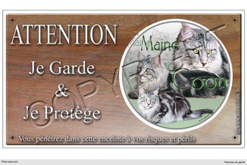 Pets-Easy.com Panneau chat ou plaque Main-Coon 20 cm