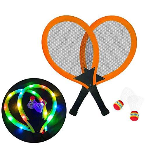 GUOHAPPY LED Badmintonschläger Kinder,Geeignet Für Kinder Über 3 Jahre Badminton Set Kinder, Inklusive LED-Schläger * 2 Und LED-Badminton, Damit Kinder Spaß Beim Spielen Haben,Orange