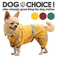 【レインコート】フルカーバータイプの 反射テープで安全 小型犬~中型犬向け 雨からしっかり守るつなぎタイプのカッパ XS,ワイン