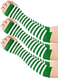 Blulu 3 Pairs Irish Green and White Striped Arm Warmers Costume Gloves for St. Patrick's Day