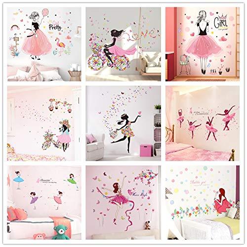 PMSMT [Shijuekongjian] Pegatinas de Pared de niña de Hadas DIY Mariposas Flores calcomanías murales para el hogar niños decoración de la habitación del bebé