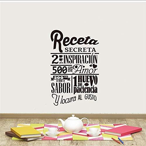 Muurstickers Muurtattoo Recept Spaans geheim decoratie wanddecoratie keuken vinyl wandsticker decoratie voor thuis poster familie muursticker 55 x 85 cm