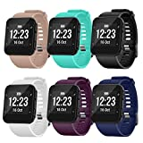 TECKMICO Forerunner 35 Bands,6PCS Soft Silicone Replacement Bands for Garmin Forerunner 35,NO Tracker (6-Pack)