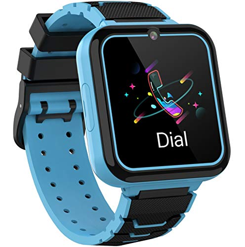 Smooce Kinder Smartwatch Telefon,Spiele Musik Smart Watch für Kinder,Kids Smart Watch mit SOS Anruf Kamera Spiele Wecker Musik Player für Jungen Mädchen (1GB Micro SD Enthalten (Blue)