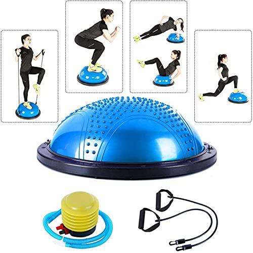 WWJ Yoga Half Ball, Balance Trainer - Pelota de Ejercicio con Bandas de Resistencia, Bomba, diseño Anti ráfagas, Superficie Antideslizante - para Yoga, Entrenamiento de Estabilidad, ejercici