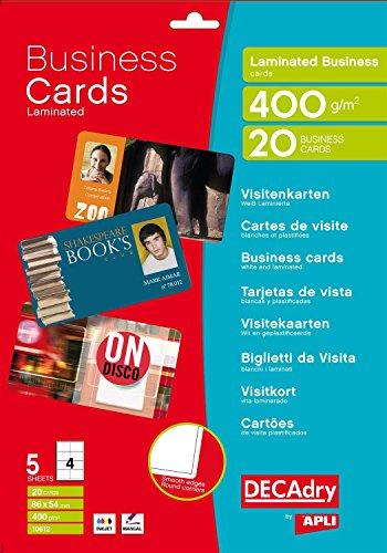 Apli - Tarjetas de visita inkjet bordes lisos plastificados 86 x 54mm 120gr plastificado 5 hojas