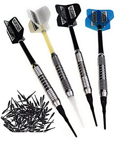 12 Stück (4 Satz) Soft Dartpfeile Silberpfeil mit Pentathlon Flys gemischt, ca. 18 g mit 100 Dartspitzen und 1 Satz GamePoint Flys Gratis