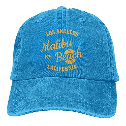 Leumius California Malibu Beach-1 Sombreros, gorra de béisbol de algodón para papá, sombrero de sándwich ajustable, unisex