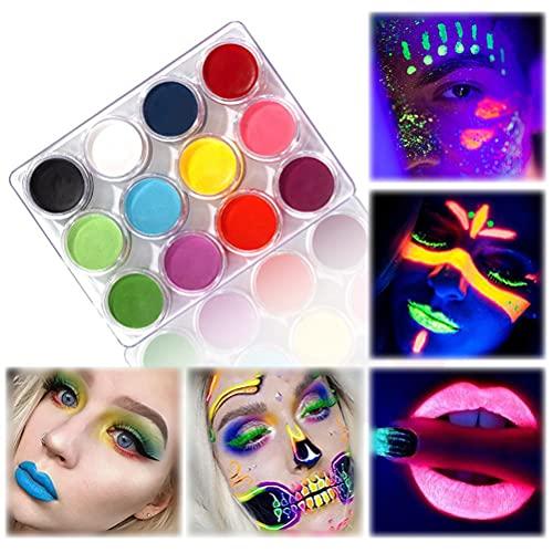 Kit de pintura facial para pintura corporal, pintura corporal luminosa de Halloween, brillo de luz negra UV, kit de maquillaje de 12 colores, pintura facial fluorescente de Navidad