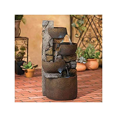 """John Timberland Ashmill Rustic Outdoor Floor Water Fountain with Light LED 29"""" High Cascading Urn for Yard Garden Patio Deck Home"""