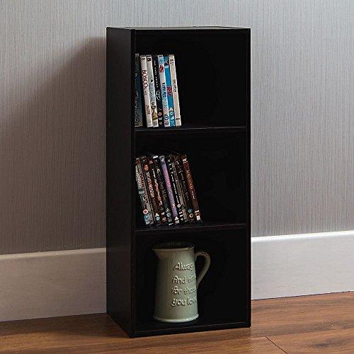 Vida Designs Oxford 3 Tier Cube Bookcase, Black Wooden Shelving Display Storage Unit Office Living Room Furniture
