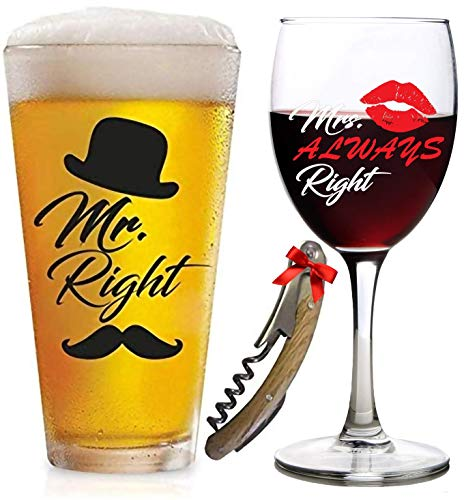 Funny Wedding Gifts | Mr. Right and Mrs. Always Right Glasses Beer & Wine Glass | For Engagement, Gifts for Couples, Anniversary, Birthday, Newlyweds, Novelty, Bridal Shower gift, Bachelorette