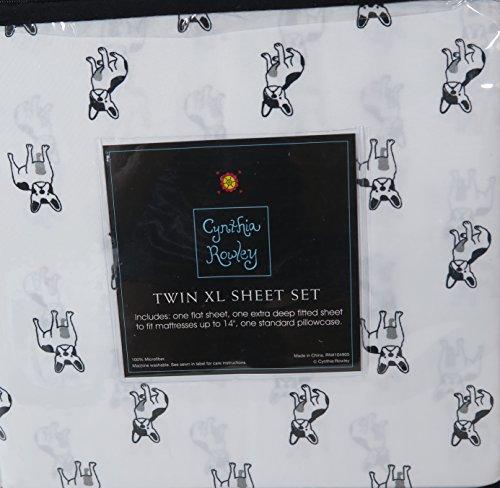 Cynthia Rowley French Bulldog Twin XL Black White Sheet Set