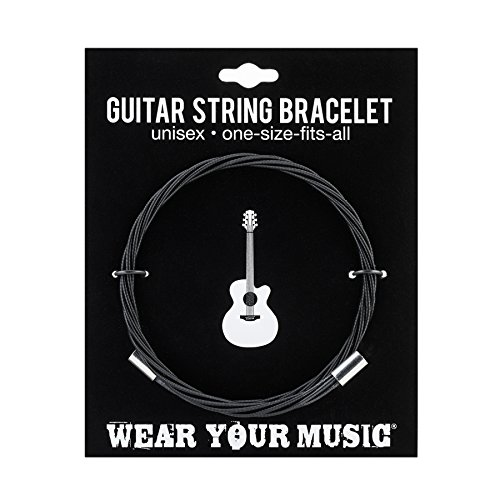 Wear Your Music - Guitar String Bracelet Guitar Strings | Stackable Wrap Bracelet | Fully Adjustable | Bangles | Affordable Wrap Jewelry | Twisted Cuff (Backstage Black)
