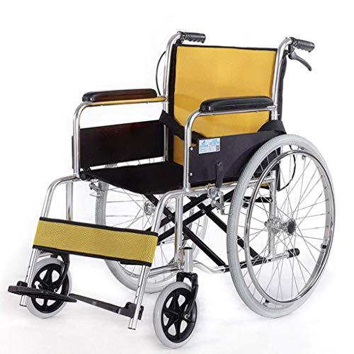 FAP Lichtgewicht Aluminium Vouwen Rolstoel, Lichtgewicht Vouwen Reizen Rolstoel, Aluminium Rolstoel, Handmatige Rolstoel, Versterking Frame, Oude Man, geel, een
