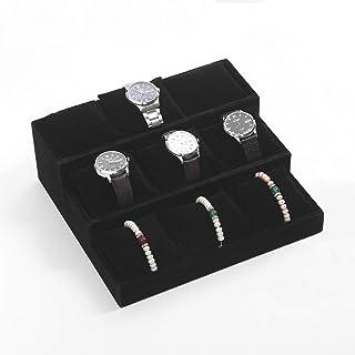 Coward 3 Tier Watch Tray Velvet Bracelet Display Stand Pillows Storage Jewelry Holder Organizer(Black)