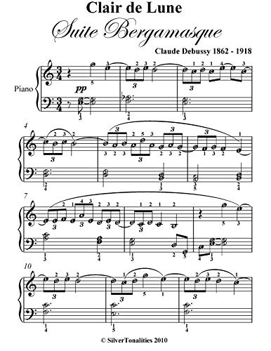 Clair de Lune Suite Bergamasque Easy Elementary Piano Sheet Music (English Edition)