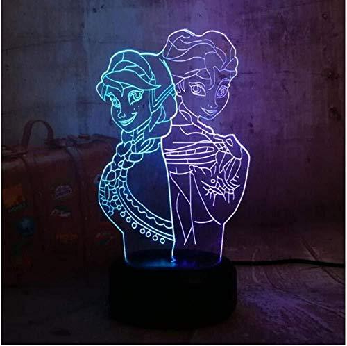 Neuf Illusion 3D Veilleuse Noël Belle Reine 3D Lampe Visuelle Illusion Bureau LED Veilleuse Neige Elsa Jouets Décor À La Maison Fille Bébé Anniversaire Cadeaux De Noël