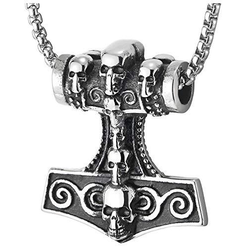 COOLSTEELANDBEYOND Herren Edelstahl Silber Schwarz Hammer Thors Irische Keltische Knoten Halskette Anhänger mit Schädel, Zweiseitig
