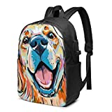 Golden Retriever Dog Watercolor Travel Laptop Backpack College School Bag Casual Daypack with USB Charging Port