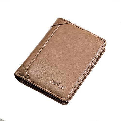 Eco Memos Cartera con Bloqueo RFID para Hombre Cartera Minimalista para Tarjetas Cartera de Cuero Plegable con Cremallera Cartera para Hombre y Tarjeta (marrón)