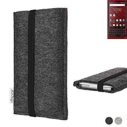 flat.design vegane Handy Tasche Coimbra für BlackBerry KEY2 Red Edition - Schutz Hülle Tasche Filz vegan fair schwarz