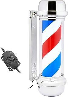 PrimeMatik - Poste de barbero Luminoso y Giratorio para