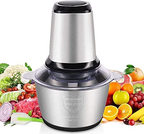 Tritatutto Elettrico 2L Tritatutto da Cucina Elettrico con 4 Lame in Acciaio Inossidabile 250W Mixer Cucina per Frutta Verdura Carne Spezie