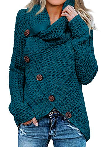 Asvivid Womens Turtleneck Cowl Neck Sweater Button Irregular Crossover Wrap Pullover Fashion 2020 Soft Ladies Jumper Tops L Blue