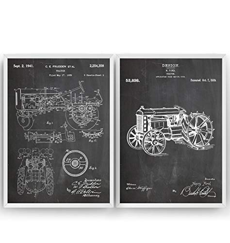 Tractor Set Of 2 Patent Posters - Farming Agriculture Farm House Giclee Print Art Kunst Wall Dekor Decor Entwurf Wandkunst Blueprint Geschenk Gift - Frame Not Included