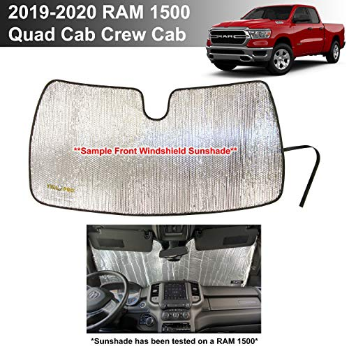 YelloPro Custom Fit Automotive Reflective Windshield Sunshade Accessories UV Reflector for 2019 2020 Dodge RAM 1500 Tradesman, Big Horn Lone Star, Laramie Longhorn Sport Rebel Limited QuadCab CrewCab