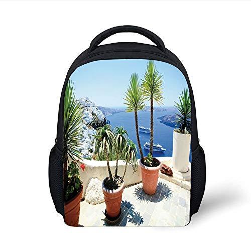 Kids School Backpack Travel Decor,Vacation in Santorini Balcony Overlooking The Old Volcano The Caldera Aegean,Multicolor Plain Bookbag Travel Daypack