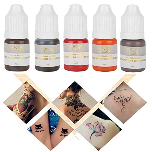Semme Tattoo Pigment, couleur de tatouage semi-permanent d'encre de maquillage 5Pcs pour la ligne d'oeil de lèvres de sourcil(5 Couleurs)