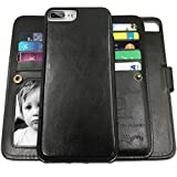 iPhone 8 Plus Case, iPhone 7 Plus Wallet Cases with Magnetic Detachable Slim Case with 9 Card Slots,Stands,Strap for iPhone 7 Plus|iPhone 8 Plus, CASEOWL 2 in 1 Folio Leather Removable TPU Case(Black)