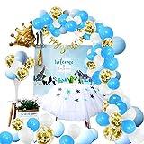 Kit de Guirnalda de Globos de 107 Piezas, Juego de Globos Macaron Blanco Azul Mate, Globos de Confeti Dorado Brillante Paquete de Guirnaldas para Fiesta de Cumpleaños Baby Shower Decoración De La Boda