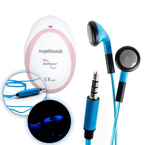 DURAGADGET Ecouteurs LED Bleus pour Doppler foetal AngelSounds, Bebelol, Sonoline & WINGONEER JT-S06 – luminescents + Micro intégré